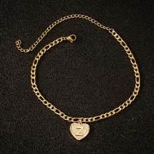 Женские ножные браслеты в стиле бохо с надписью, ювелирное изделие из нержавеющей стали, браслет в форме сердца с алфавитом, подарок для жен...(Китай)