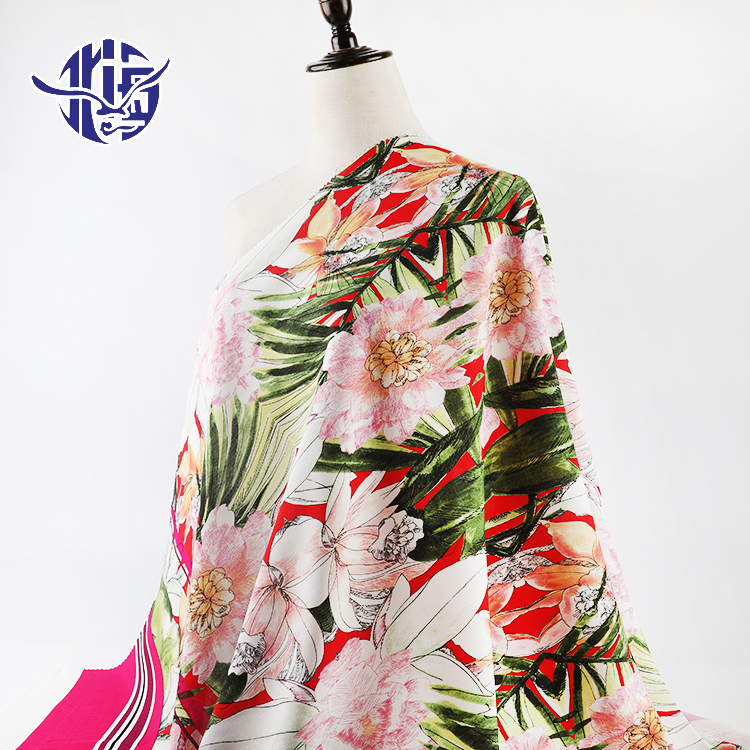 Shaoxing tekstili çiçek desenli dokuma % 100% viskon rayon dijital challis baskılı kumaş elbise için