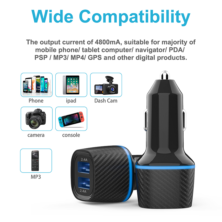 OEM Portable 2 USB Port 3.0 Universal Dual USB Car Charger Adapter With Led Display