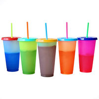 2020 Amazon Hot Sale 24oz Custom Logo Color Changing Mug Tumbler Cups Set With Straws and Lids