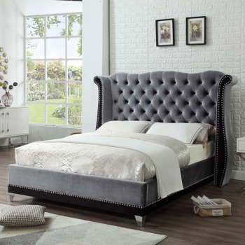 Dark grey fabric queen upholstered modern king bed frame