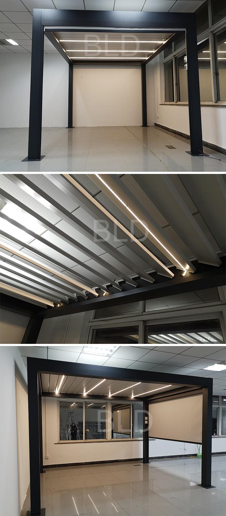 Modern Bioclimatic Motorised Pergola Aluminium Louvre Opening Roof With Remote Control