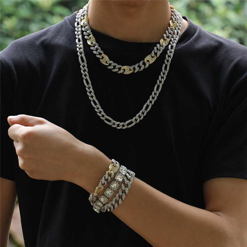Nieuwe Ontwerp HipHop Iced Out CZ Koffieboon Cubaanse Collier Mannen Vrouwen