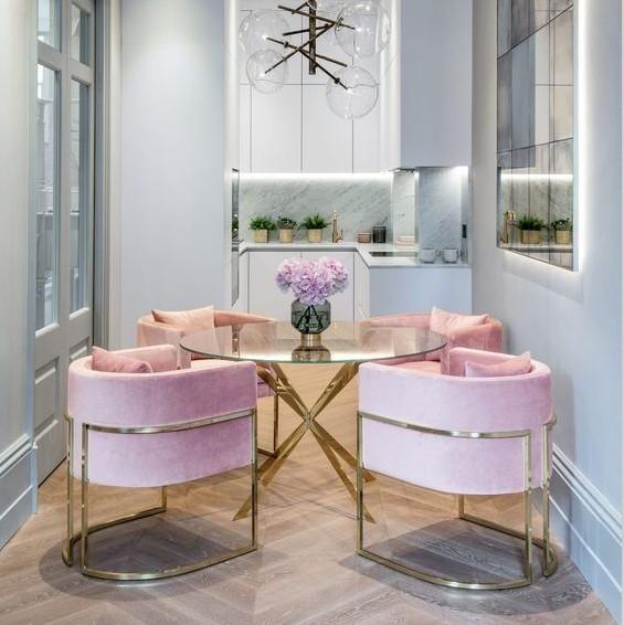 Modern gold stainless steel pink upholstery recliner velvet brass luxury julius living room furniture leisure sofa chair