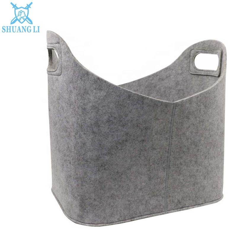 Feutre portatif Pliable Porte-Sac/Bin/Panier pour le Stockage, Feutre Gris Poubelle avec Poignées pliable et Plus Fort