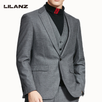 Top quality autumn light grey single-breasted men suits 3 pieces