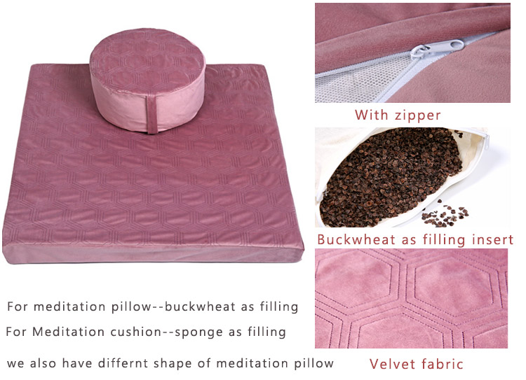 Cheersee zafu blue swing patio seating velvet round yoga pillow floor seat big meditation cushion with carry bag