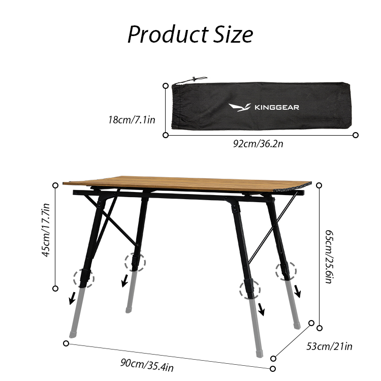 KINGGEAR Outdoor Aluminum Wood Pattern Table Top Height Adjustable Folding Picnic Camping Table