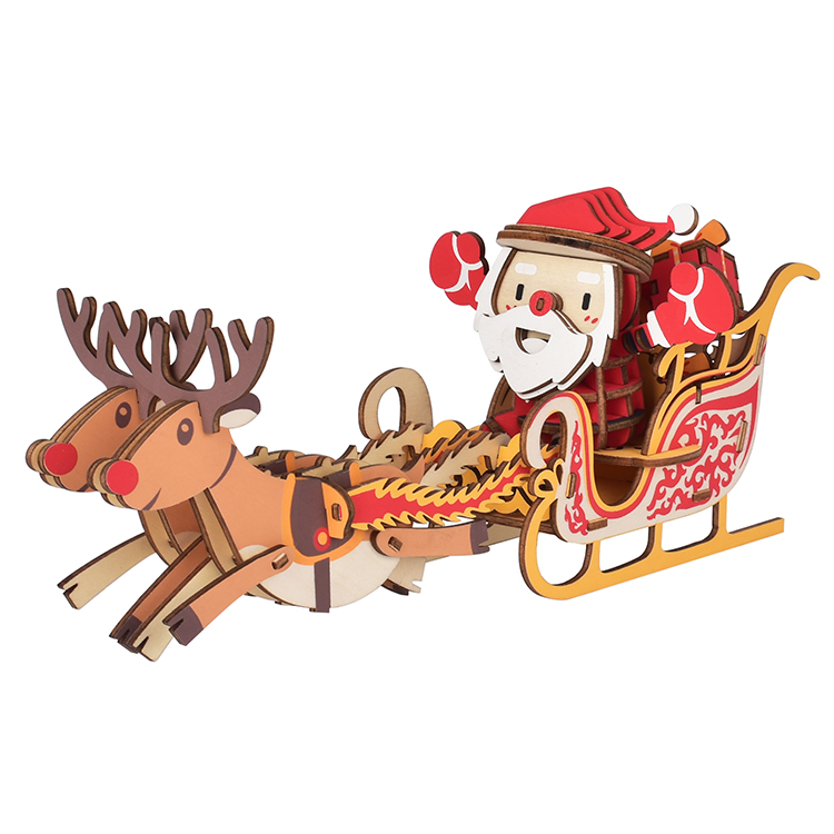 2020 good quality best price  portable educational jigsaw puzzles for santa claus 3D DIY  wooden christmas decoration