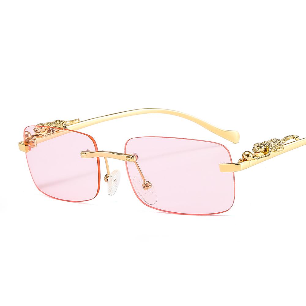 Small Cuttle Fish Small Square Sunglasses Cheetah Tiger Rimless Fashion Sunglasses Newest 2021 Sunglasses