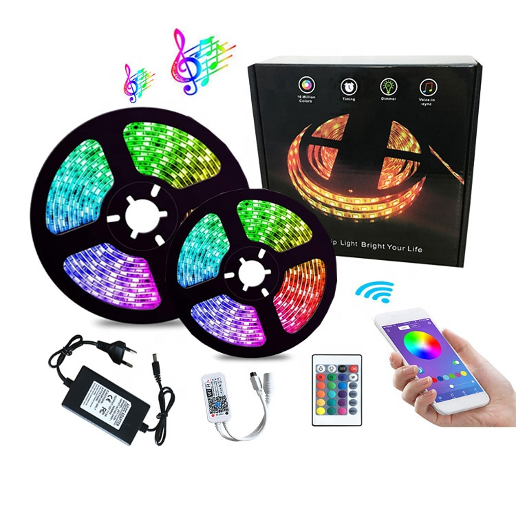 waterproof 5m 20m dc12v govee auto music rgb led tape strip lights with remote