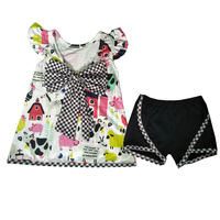 Hot Sale Farm Chick Cow Kids Popularly Clothing Cute Little Girls Big Bow Plaid Outfit Baby Summer Shorts Clothes Sets