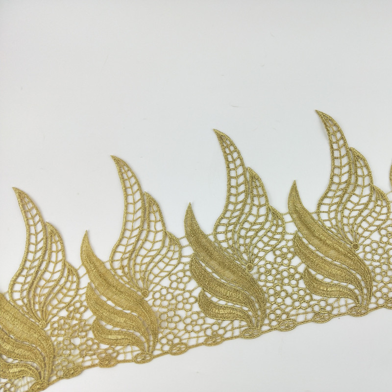 2019 Gold Silver Embroidery Geometric Design Guipure Lace Trim Wholesale