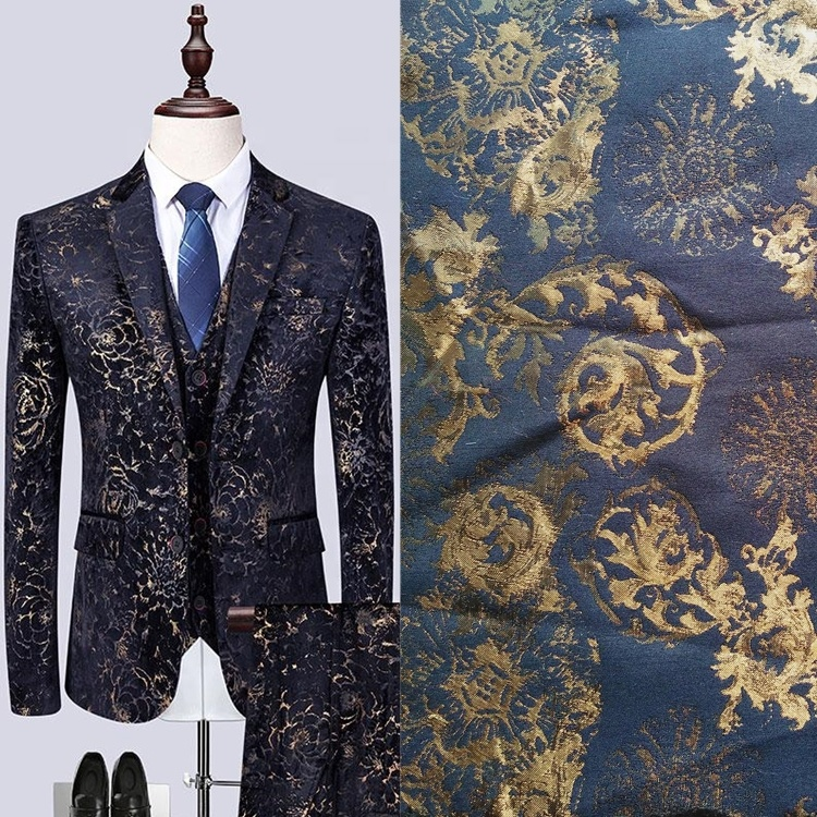 Rayon polyester custom color made jacquard brocade men's suit coat fabric