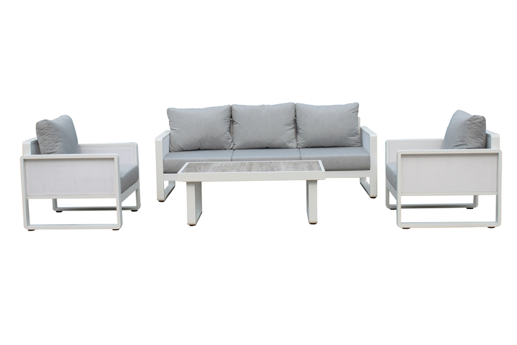 Luxury powder coated aluminum outdoor garden sofa set with mesh fabric and cushions