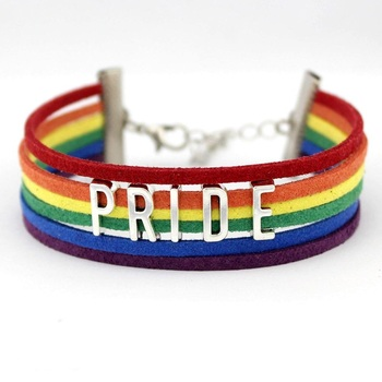 New LGBT Gay Pride Handmade Multi Layer Men's Rainbow Leather Bracelet