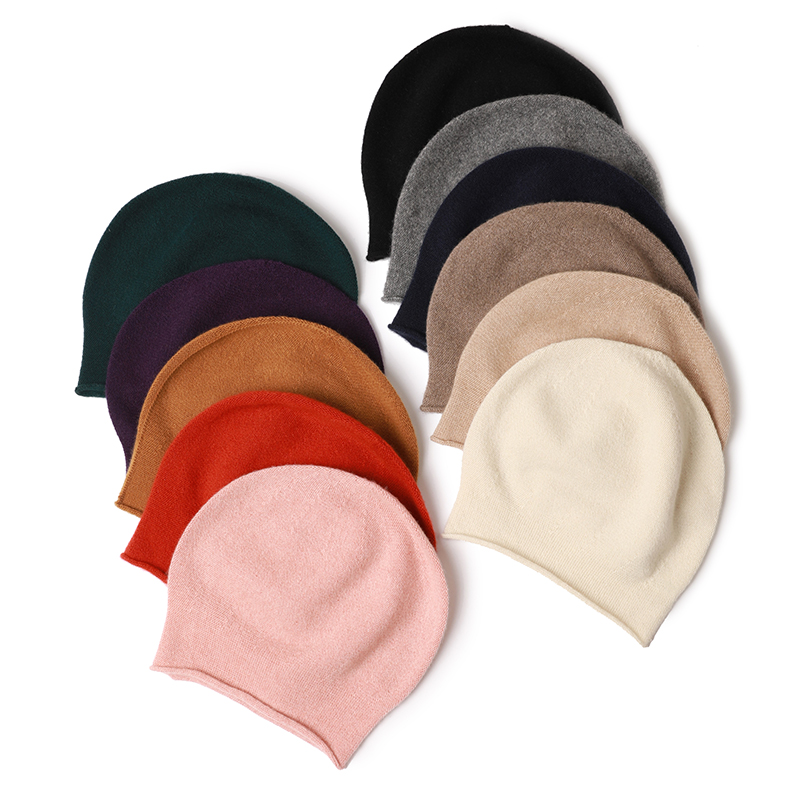 Inner mongolian factory supply knitted winter warm women men 100% cashmere hat custom design lady pure cashmere knit beanie