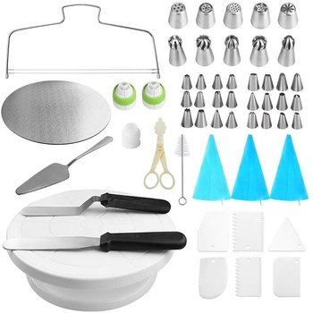 16 pcs stainless steel reposteria cake decoration tools tips set/cake turntable kit decorating tools icing piping tips