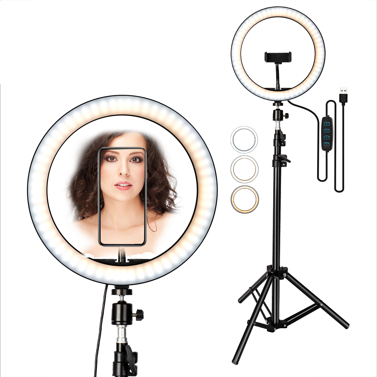 """Selfie Maquillage Vidéo En Direct Anneau Lumière 10 """"Pouces et 1.6 Mètre Support Avec Obturateur À Distance et 3 Mode D'eclairage"""