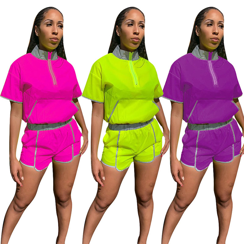 Fashion Hi-Street Women Neon Green Tops With Reflective Streetwear Shorts