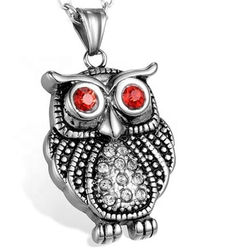 Yiwu Aceon Stainless Steel Casting Animal Jewelry Women Wear Crystal Red Stone Eyes Cute Owl Pendant
