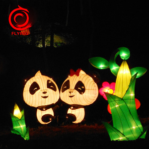 popular chinese party decoration led fabric cute cartoon panda lanterns for festival
