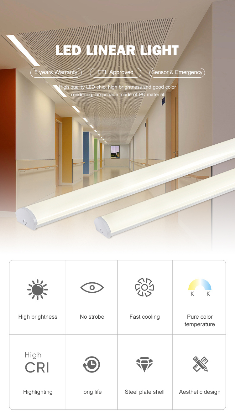 High brightness 2ft 4ft 5ft 6ft 20w 40w 50w 60w 80w office smd led tube light