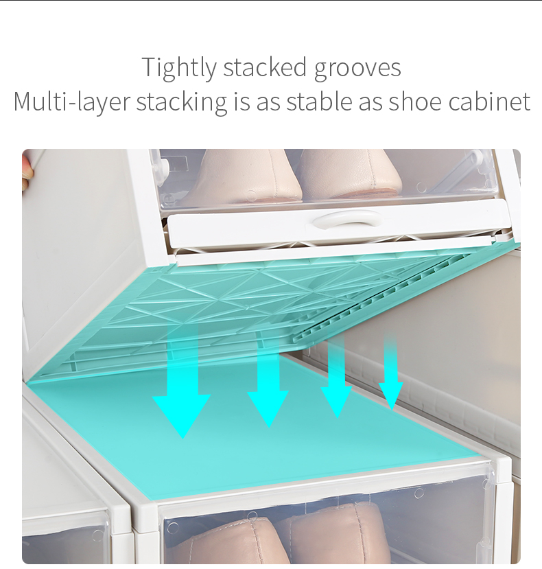 Haixin 3 pcs Easy assembly plastic shoe box drawer type transparent storage shoe box clear shoe boxes