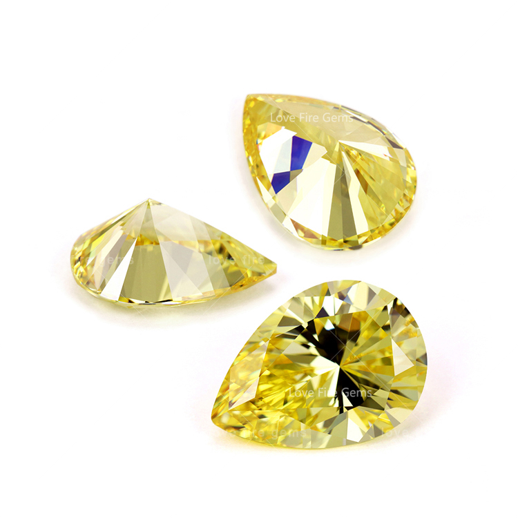 5*7mm 5A loose gemstone <strong>pear</strong> shape zircon stone yellow cz regular <strong>pear</strong> cut cubic <strong>zirconia</strong> for jewelry making