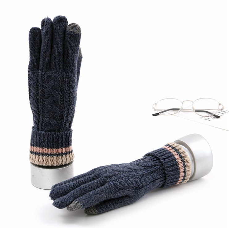 Knit Warm Thick Thermal Soft Comfortable Wool Lining Elastic Cuff Women Men Texting  Winter Touchscreen Gloves