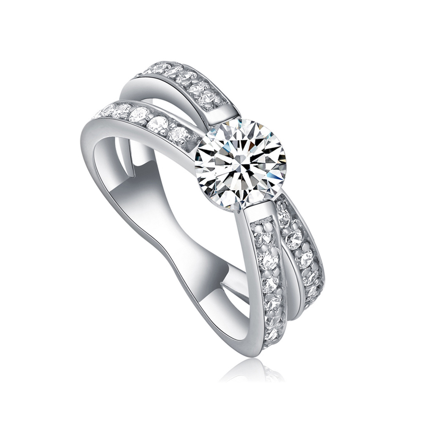 Jewelry Manufacturer wedding engagement rings  Sterling Silver Round Ring Set (图1)