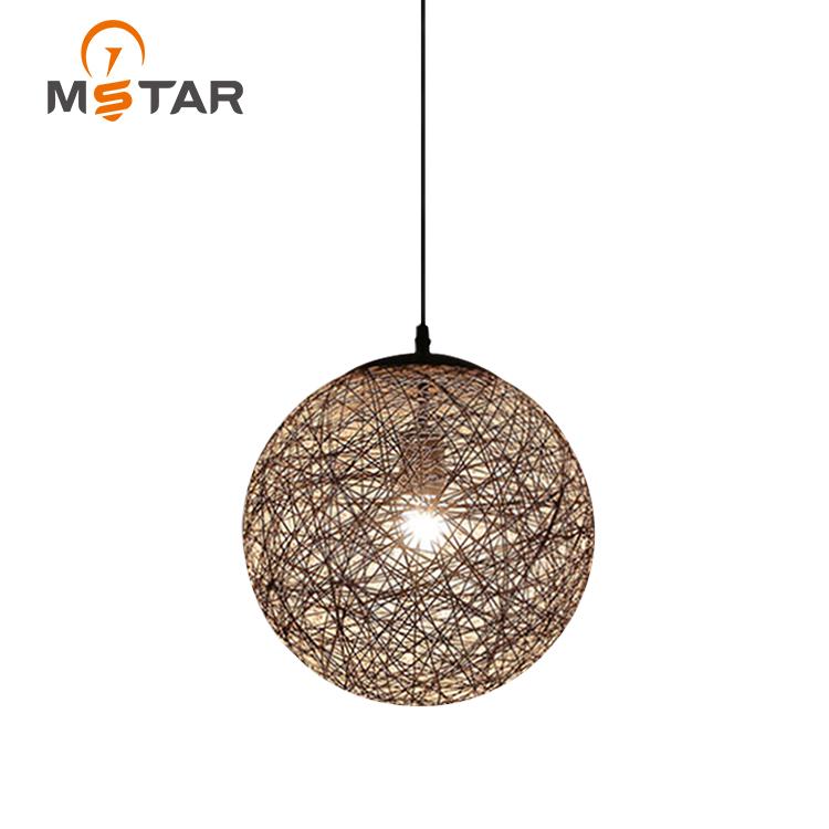 Подвесной светильник для столовой, современный круглый подвесной светильник из ротанга