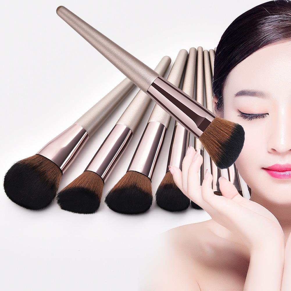 10pcs Set Champagne Makeup Brushes Set For Make Up Foundation Powder Blush Eyeshadow Kabuki Blending Cosmetic Brush Beauty Tool Aliexpress