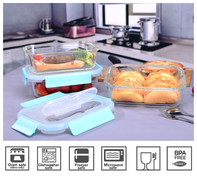 Glass lunch box food container microwavable with cutlery meal prep storage container glass