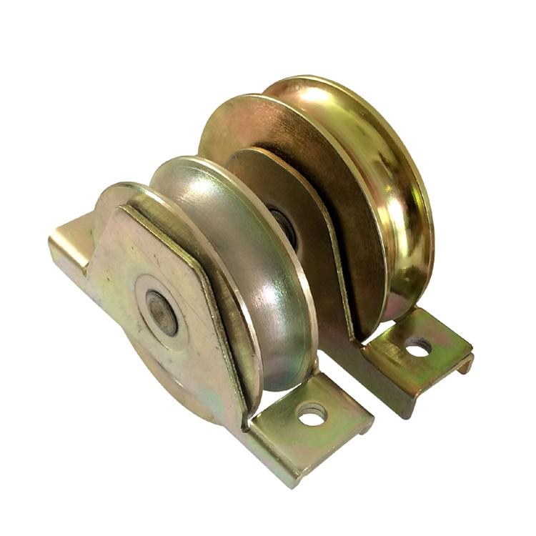 90mm galvanizado U V ranura de la puerta corredera rueda con interior soporte