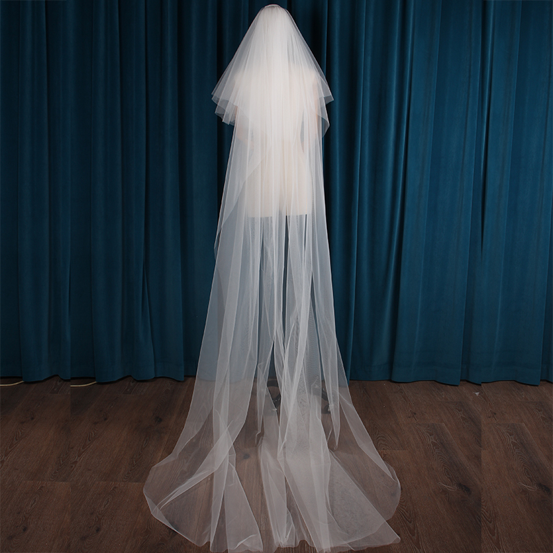 간단한 우아한 화이트 고품질 웨딩 베일 3m 긴 액세서리 신부 Tulle 베일