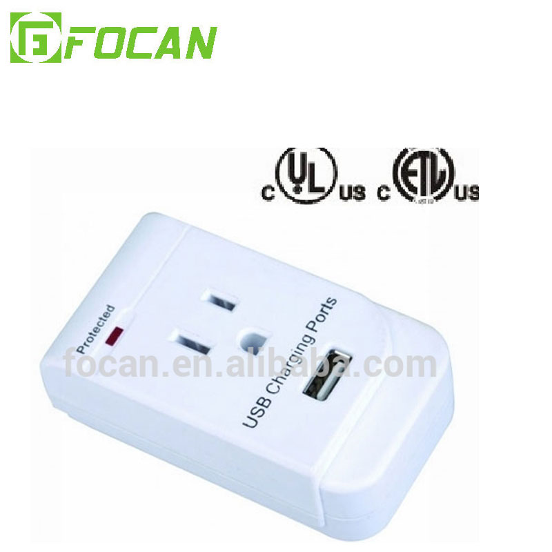Surge protected grounding adapter with USB port