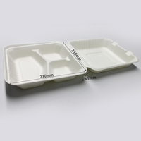 Disposable Biodegradable Tableware Bagasse Clamshell Food Container Sugarcane Takeaway Lunch Box