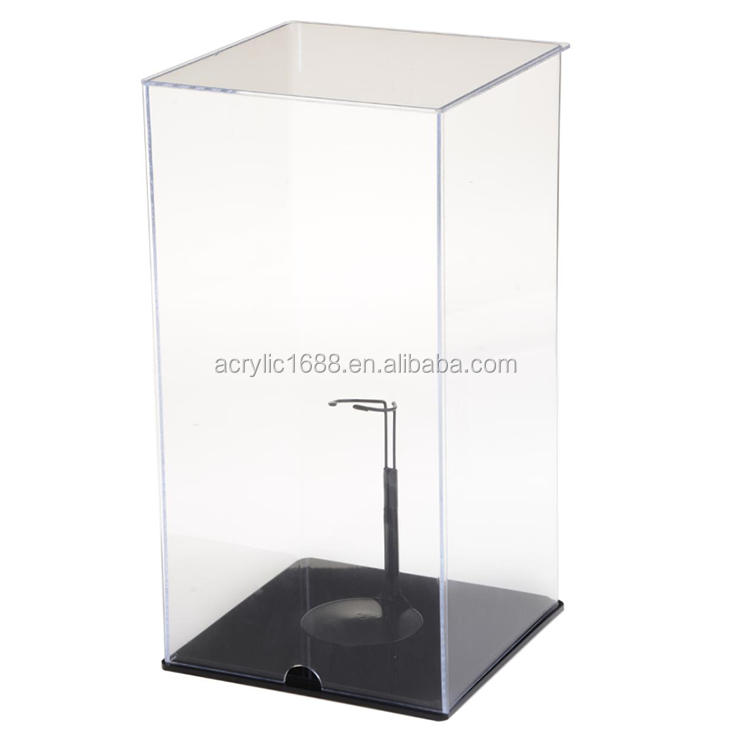 High quality clear plexiglass toy display box with black base