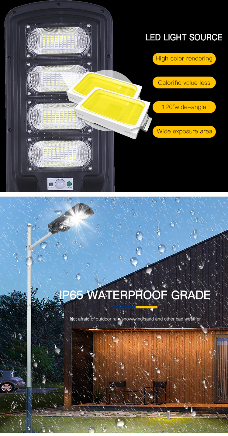 Terintegrasi Outdoor Tahan Air Ip65 50W 100W 150W 200W 250W 300W Led All In One lampu Jalan PJU Tenaga Surya