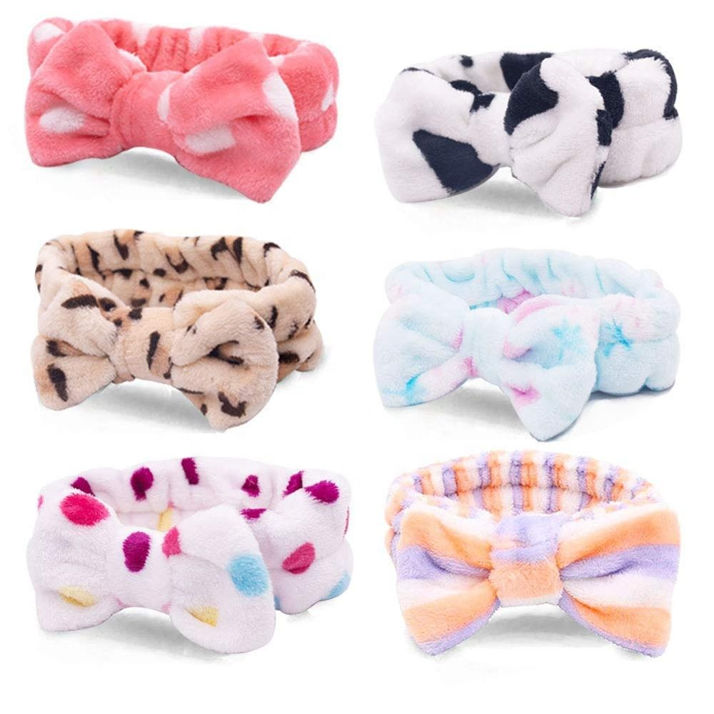 Spa <strong>Headband</strong> Women Fleece Hair Lace Large Bow Face Wash <strong>Headband</strong> Makeup Hair Band