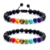 7 Chakra Energy Stone Hand-woven Adjustable Black Natural Beads Pulsera Hombre Bracelets Set For Women Men