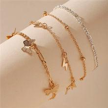 Женский ножной браслет с бабочками, 17 км, набор золотых цепей «сделай сам», 2020, пляжный ножной браслет в богемном стиле(Китай)