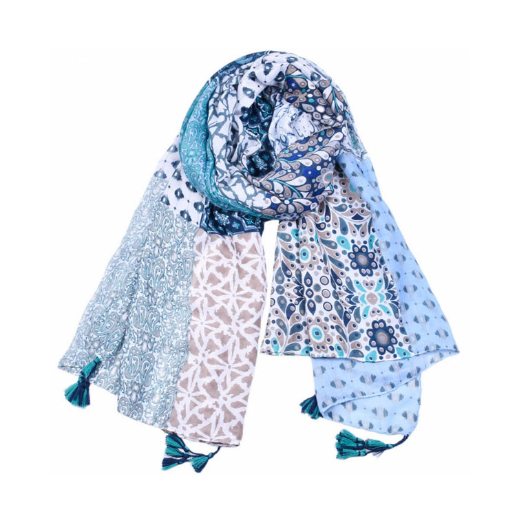 customized woven satin scarf spring and autumn lady plaid tassel Muslim scarf