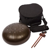 Steel Tongue Drum 10 Notes 8 inches Percussion Instrument - with Pouch, Book, Mallets, Finger Picks