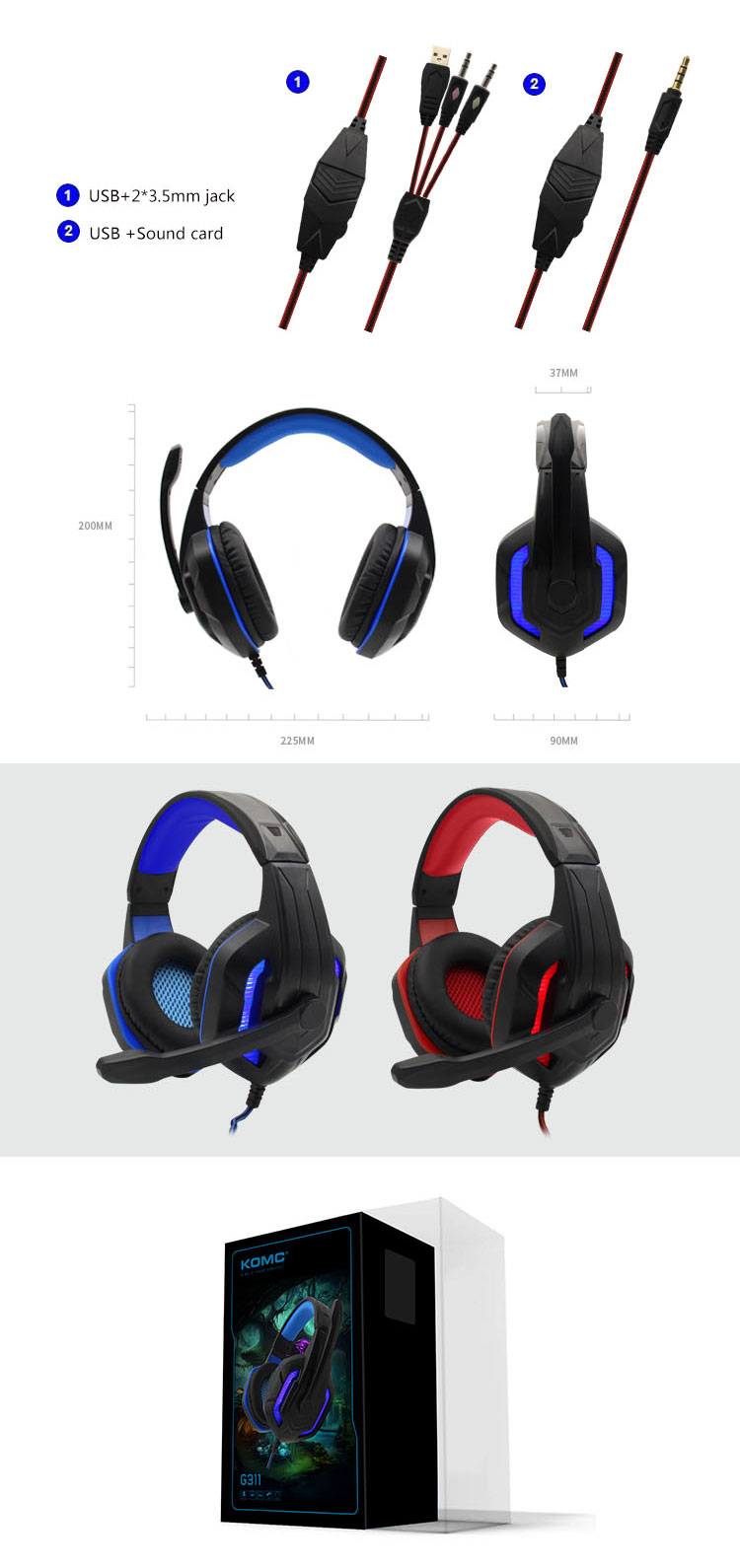 Best Stereo Computer Glowing Headset Gaming Headphone with Microphone