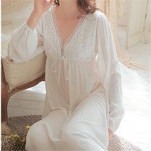 Винтажное сексуальное ночное белье, Женская хлопковая ночная рубашка средневекового цвета, белое платье принцессы с глубоким v-образным вы...(Китай)