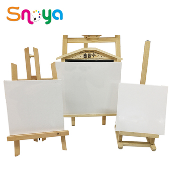 Factory Price pure cotton 10x10 personalised mini art canvas plus easel for desktop