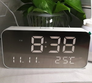 Desktop mirror panel music alarm clock digital LED clock calendar morning snooze alarm clock