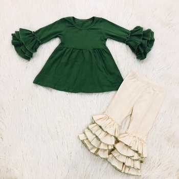 latest design wholesales girls clothing solid color ruffle top and legging 2pc set